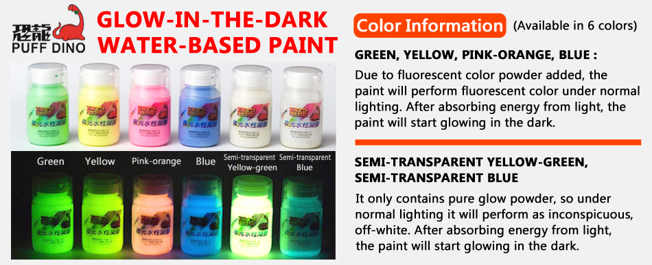 puff dino glow in the dark water based paint 60ml puffdino trade co. Black Bedroom Furniture Sets. Home Design Ideas